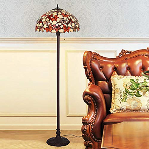 Desk Maple Country (18 inch red maple leaf Tiffany style living room floor lamp bedroom study sofa vertical glass table lamp)