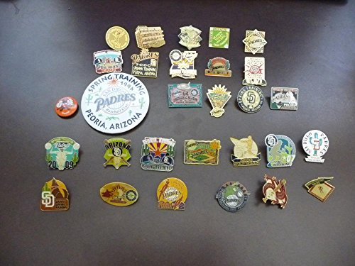 29 DIFFERENT SAN DIEGO PADRES PINS AND BUTTONS 1993 TO 2009