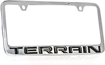 Matte Black License Plate Frame Chrome ACADIA Laser Etched Metal Screw Cap