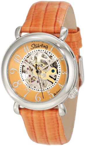 (Stuhrling Original Women's 108.1215F58 Classic Metropolis Wall Street Automatic Skeleton Orange Watch)