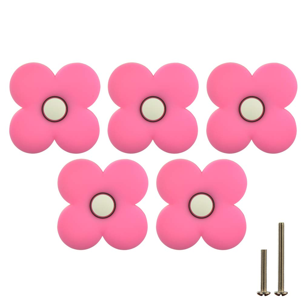 JQK Cabinet Knobs for Kids, Decorative Pink Dresser Knobs 5 Pack with PVC Safety Soft Pattern, CKK-PK-P5