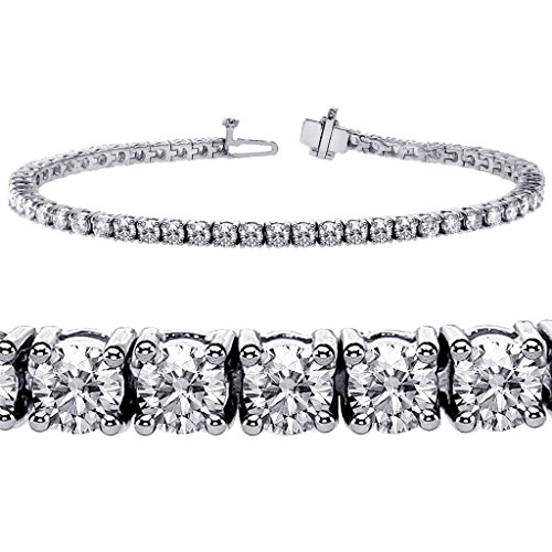 6.00 CT TW 4 Prong Round Diamond Tennis Bracelet in 14k White Gold (F-G-color/VS2-SI1-clarity) ()