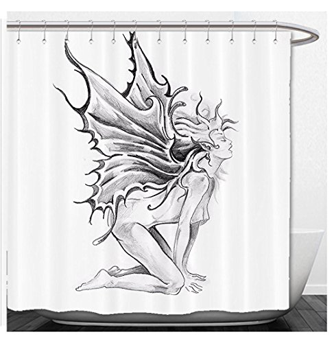 Beshowere Shower Curtain Decor Artistic Pencil Drawing Art Print Nude Fairy Opening itAngel WingFabric Bathroom Decor Set with Hook Black and - Swag Black Nude