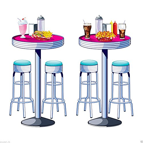 1950s Sock Hop Grease Party Decoration SODA SHOP Diner TABLES & STOOLS PROPS -