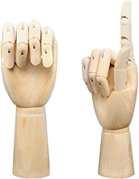 Wooden 7 Jointed Flexible Mannequin Model Manikin Right Hand