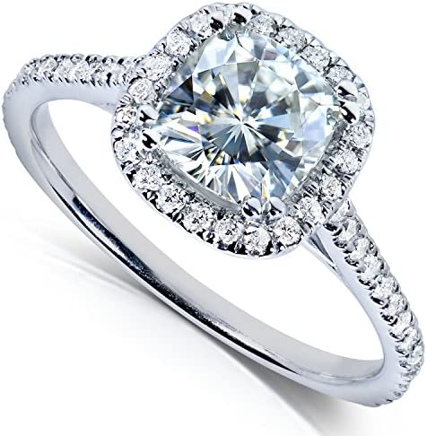 Forever One (D-F) Moissanite Engagement Ring 1 1/3 CTW 14k White Gold