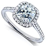 Forever One Moissanite and Lab Grown Diamond Halo Engagement Ring 1 1/3 CTW 14k White Gold (DEF/VS)