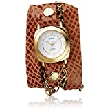 La Mer Collections Women's 'Multi Chain' Quartz Stainless Steel Case Back, Nickle Free Mixed Metal Alloy and Leather Watch, Color:Caramel Snake/Gold-Toned (Model: LAMERCHARM4501)