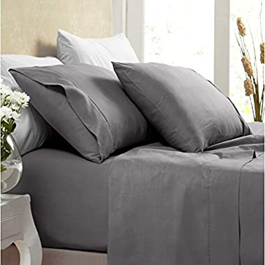 Egyptian Bedding Rayon from BAMBOO Sheet Set - King Size Gray 1200 Thread Count Cotton Sheet Set (Deep Pocket)