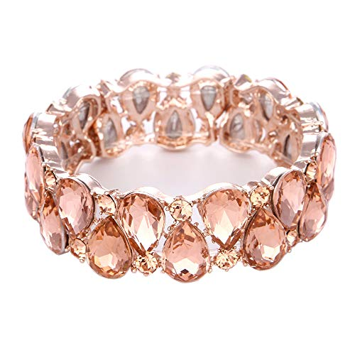Youfir Bridal Austrian Crystal Teardrop Knot Elastic Stretch Bracelet for Brides Wedding Party(B-Peach)]()