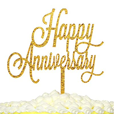 "PALASASA""Happy Anniversary""birthday cake topper Double Sided Gold Glitter Acrylic for - Wedding,Birthday"