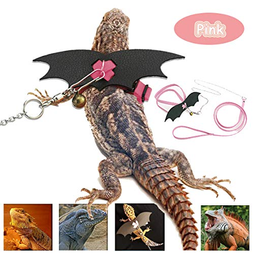 Bonaweite Adjustable Reptile Harness Leash, Pet Lizard Leather Harness with Cool Wings for Outdoor Walking Training, Great for Bearded Dragon IG Iguana Chameleon Gecko Guinea Pig Ferrets Hamster Rats -