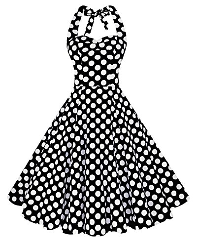 [Anni Coco Women's Halter Polka Dots 1950s Vintage Swing Tea Dress - Large - 2nd - Black & White] (50s Black Dress Costume)