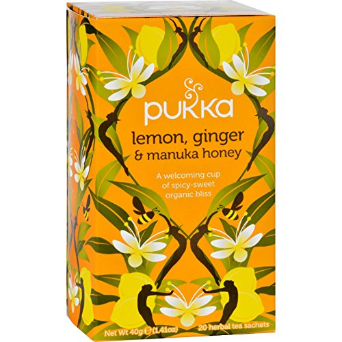 Lemon Organic Honey - Pukka Herbs Organic Lemon, Ginger and Manuka Honey Herbal Tea, 20 individually wrapped tea bags, 6 Count
