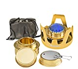 Wealers Camping Portable Aluminum Mini Stove With Brass Alcohol Burner Compact & Lightweight, Backpacking Equipment (Gold)