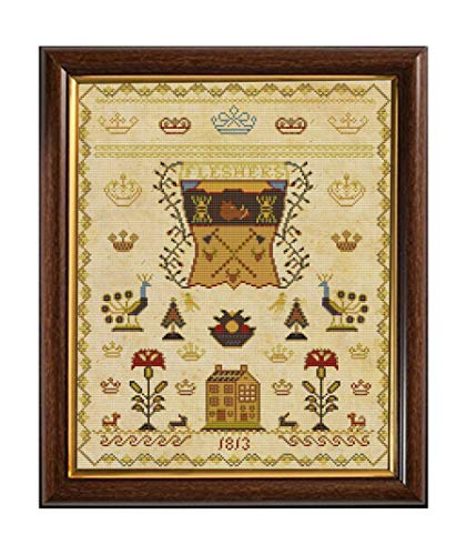 Antique Scottish 1813 Coat of Arms Sampler Reproduction Cross Cross Stitch Counted Chart PDF on CD Unique Easy to Make Vintage English Embroidery Needlepoint European Scotland