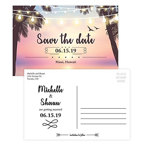 Custom - Beach Wedding Save The Date Invitation Postcard - Set of 25, Personalized Wedding Invitation, Hawaiian Wedding, Destination Wedding