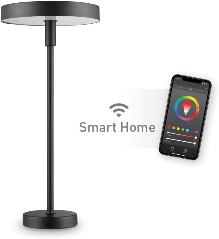 Wi-Fi Smart Table Lamp, Satin Black, No Hub Required, Voice Activated, 7 Watts, Multicolor Changing RGB, Tunable White 2000K - 5000K, 400 Lumens, 50,000 Hours, 80 CRI,67240