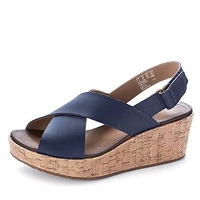 6f65e6508e3 Clarks Stasha Hale Leather Wedge Shoe With Loop Fastening - Wide Fitting -  Navy - 9 UK E