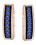 Round Cut Simulated Blue Sapphire Hoop Earrings In 10k Solid Rose Gold