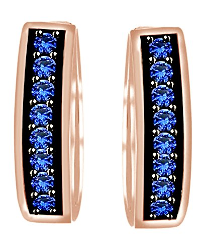 Round Cut Simulated Blue Sapphire Hoop Earrings In 10k Solid Rose Gold by AFFY