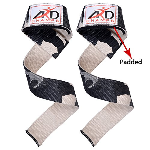 ARD CHAMPS Camouflage NEOPRENE PADDED PAIR Power Hand Bar Straps Weight Lifting Cotton Straps for Crossfit, Bodybuilding, Power Lifting