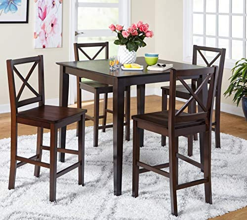 Target Marketing Systems The Foley Collection Contemporary Style Counter Height Kitchen Dining Table, Black