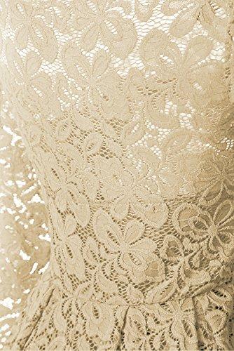 Aecibzo Cou Bateau À Manches Longues En Dentelle Vintage Floral Femmes Robe De Cocktail Beige Formel Balançoire