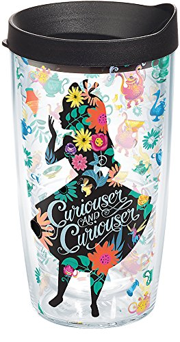 (Tervis 1269202 Disney - Alice In Wonderland Curiouser Insulated Tumbler with Wrap and Black Lid, 16oz,)