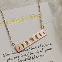 Rose Gold Moon Phase Necklace Moon Necklace Bar Necklaces For Women Moon Pendant Necklace Moon Jewelry Birthday Gifts For Women