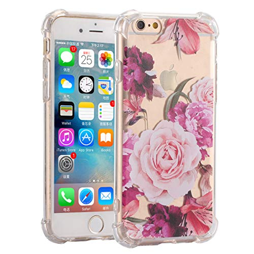 Fifi Clear Slim Shockproof Flower Floral Design Soft Flexible TPU Silicone Back Cover Phone Case Compatible with iPhone 6 (Pink Rose)