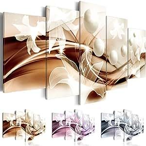 Cuadro en Lienzo 100x50 cm - Tres colores a elegir - 5 partes - Impresion en calidad fotografica - Cuadro en lienzo tejido-no tejido - abstraccion Flor b-A-0226-b-o 100x50 cm B&D XXL