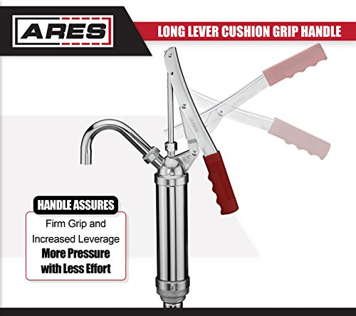 ARES 71038 | Oil Barrel Pump | 2-Piece Telescoping Suction Tube Fits 15-55 Gallon Drums | Designed to Deliver Base Oil, Transmission Oil and Heavier Fluids | Removable Spout Fits Standard Garden Hoses by ARES (Image #3)