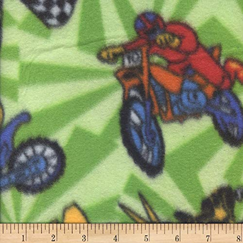 Newcastle Fabrics Polar Fleece Motocross Fabric, Green, Fabric By The Yard (Fleece Dirt Bike Fabric)