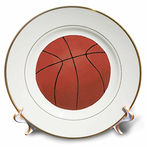 3dRose CherylsArt Sports Basketball - Painting of a Basketball - 8 inch Porcelain Plate (cp_271107_1)
