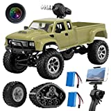 GILOBABY RC Pickup Truck with Wi-Fi HD Camera, 1:16 Scale Remote Control Off-Road Army Car 4WD 2.4Ghz Vehicle Crawler RTR for Adults and Kids (2 Batteries and 2 Kinds of Tires)