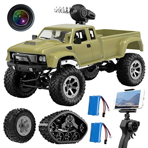 Maxxrace RC Pickup Truck with Wi-Fi HD Camera, 1:16 Scale Remote Control Off-Road Rock Vehicle 4WD 2.4Ghz Car Crawler RTR for Adults and Kids (2 Batteries and 2 Kinds of Tires)