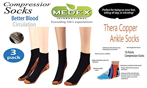 38f677ac09 Medex Lab Thera Copper Compression Ankle Socks: Calves High Copper  Compression Socks Aid in Blood Circulation Relieves Pain and Aches off your  Feet: ...