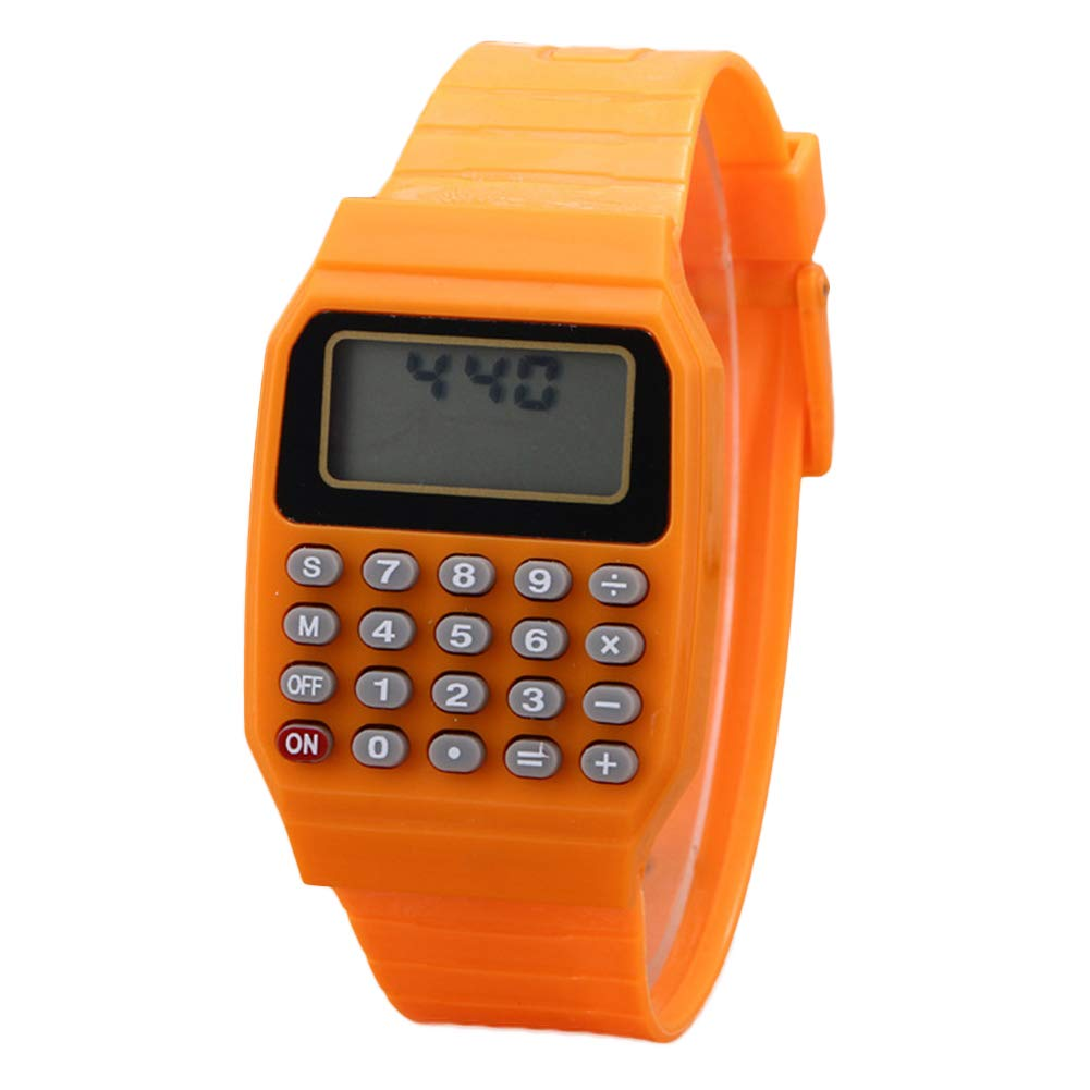 Togethluer Children Digital Square Wrist Watch Mini Calculators, Portable Calculator Exam Tool Kids Gift Orange