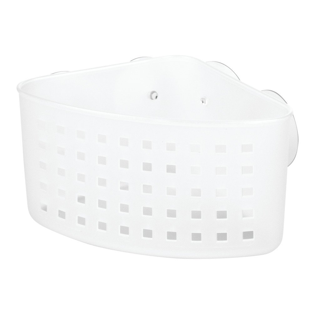 InterDesign Suction Bathroom Shower Caddy Basket for Shampoo, Conditioner, Soap - Frost 20100