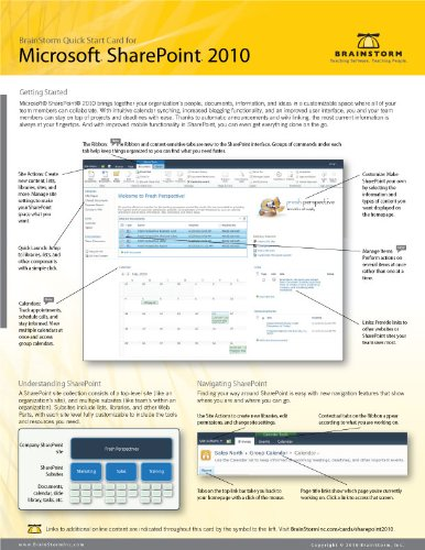 Microsoft Sharepoint 2010 Quick Start Reference Card, 6-page Tri-fold Tips & Tricks Shortcut Trainin [Cards]