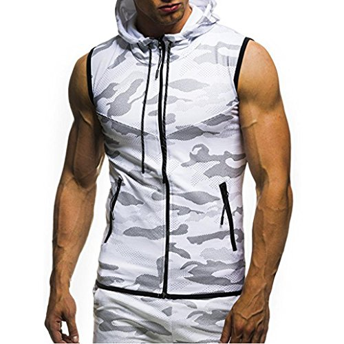 Leedford Men's Top ♥2018 Men Blouse♥,Leedford Men's Summer Casual Camouflage Print Hooded Sleeveless T-Shirt Top Vest Blouse (2XL, White) by Leedford Men's Top