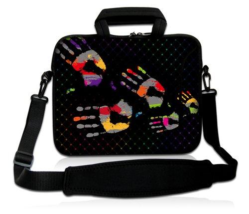Luxburg® Design Funda bandolera Blanda Bolso Sleeve para Ordenador Portátil / MacBook de 17,3 pulgadas, motivo: Peces de colores Huellas dactilares