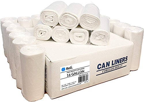Reli. Trash Bags, 13 Gallon (Wholesale 1000 Count) - Star Seal High Density Rolls (Clear) - Can Liners, Garbage Bags with 13 Gallon (13 Gal) to 16 Gallon (16 Gal) Capacity by Reli.