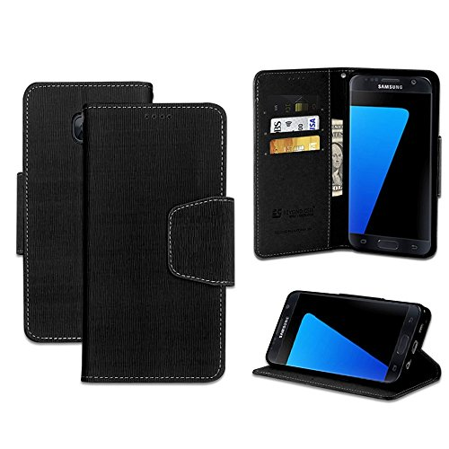 Beyond Cell®Infolio®Galaxy S7 Edge Case, S7 Edge Case, Premium 2 Layer Protection Luxury PU Leather Folio Flip Case With Built in Media Kickstand&Card (Edge Reinforced Bookcase Finish)