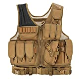 Lixada Mens Vest Military Tactical Army Polyester Waistcoat for Outdoor Camping Hunting Fishing Hiking Airsoft War Game