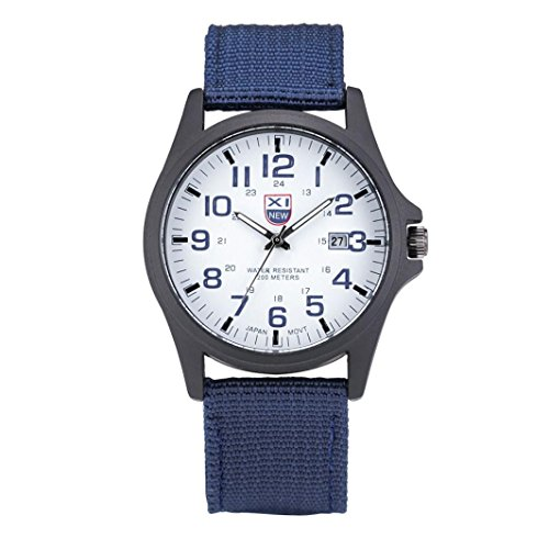 Watch,LANDFOX Mens Stainless Steel Military Sports Analog Quartz Watch Blue