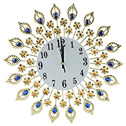 Fdit Creative Iron European Style Modern Flower-Shaped Wall-Mounted Clock Diamond Hanging Wall Clock Home Office School