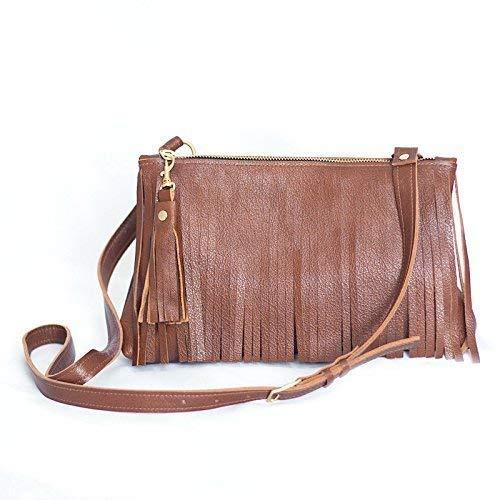 f94c58d0c44b Amazon.com  Fringe Purse - Leather Crossbody Bag - Tan Fringed Handbag - Brown  Leather Fringe Bag  Handmade