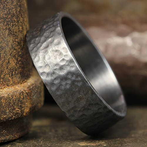 (7mm Wedding Band Oxidized Blackened 925 Sterling Silver Hand Forged Hammered Mens Women Unisex Flat Pipe Cut Thick Handmade Black Ring - FREE Engraving)